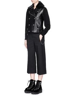 ALEXANDER WANG Detachable faux fur collar leather moto vest