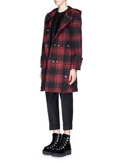 ALEXANDER WANG Triple snap button front tartan plaid duffle coat