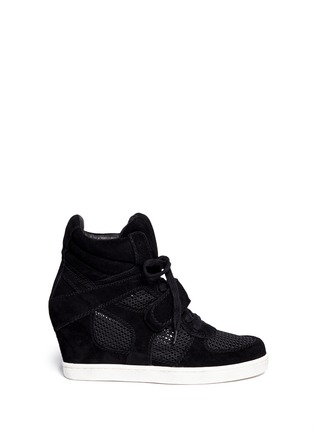 Main View - Click To Enlarge - Ash - Cool Mesh suede wedge sneakers
