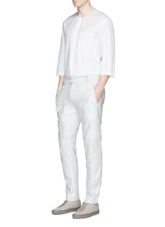 FFIXXED STUDIOSWaist sash cotton stripe dobby pants