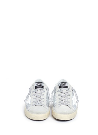 Front View - Click To Enlarge - Golden Goose - 'Superstar' wrinkle effect laminated smudged sneakers