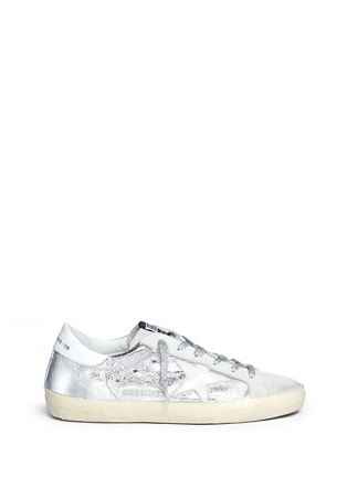 Main View - Click To Enlarge - Golden Goose - 'Superstar' wrinkle effect laminated smudged sneakers