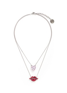 Anton Heunis Heart and lips Swarovski crystal tiered necklace