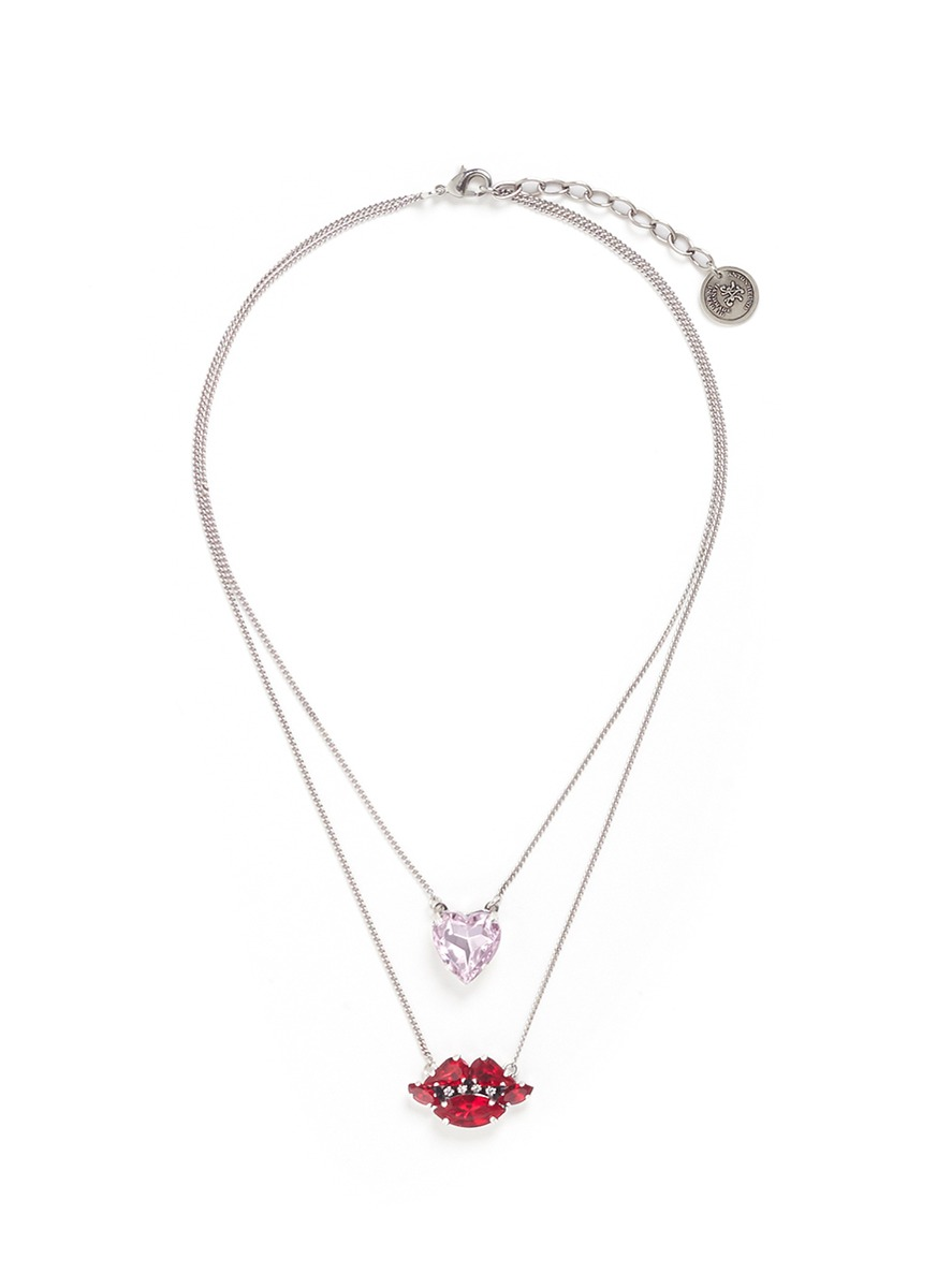 Heart and lips Swarovski crystal tiered necklace by Anton Heunis