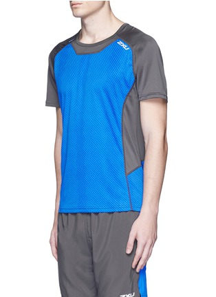 Front View - Click To Enlarge - 2Xu - 'Ice X' colourblock performance short sleeve top