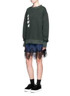 Ground-ZeroChinese slogan sweatshirt silk dress set