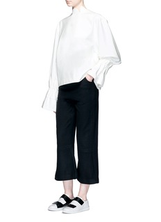 Shushu/TongScalloped stand collar ruffle cuff top