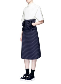 Shushu/Tong Ruffle trim stripe twill skirt