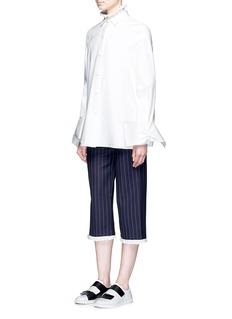 Shushu/TongRuffle trim stripe twill culottes