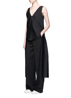 Ports 1961 Drape side wool-silk radzmir shell top