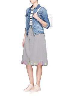 Mira MikatiYarn embroidered houndstooth skirt