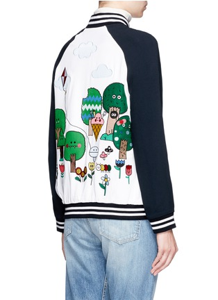 Back View - Click To Enlarge - Mira Mikati - 'Happy Forest' patch and embroidered bomber jacket
