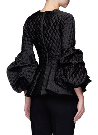 Back View - Click To Enlarge - Johanna Ortiz - 'Maia' ruffle geometric jacquard peplum top