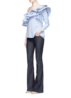 Johanna Ortiz'Anastasia' one-shoulder stripe ruffle top