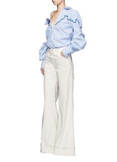 Johanna Ortiz'Anelise' puff sleeve braided embroidery stripe shirt