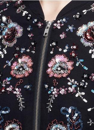 Detail View - Click To Enlarge - Needle & Thread - 'Cinder Lace' floral embellished georgette bomber jacket