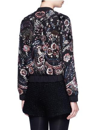 Back View - Click To Enlarge - Needle & Thread - 'Cinder Lace' floral embellished georgette bomber jacket