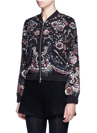 Front View - Click To Enlarge - Needle & Thread - 'Cinder Lace' floral embellished georgette bomber jacket