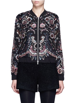 Main View - Click To Enlarge - Needle & Thread - 'Cinder Lace' floral embellished georgette bomber jacket