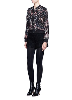 Needle & Thread 'Cinder Lace' floral embellished georgette bomber jacket