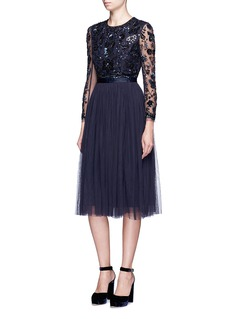 Needle & Thread 'Butterfly' floral embellished tulle dress
