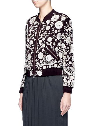 Front View - Click To Enlarge - Needle & Thread - 'Embroidery Motif' sequin floral bomber jacket