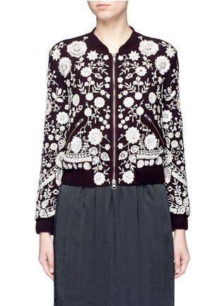 Main View - Click To Enlarge - Needle & Thread - 'Embroidery Motif' sequin floral bomber jacket