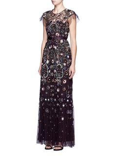 Needle & Thread 'Enchanted Lace' floral embellished tulle maxi dress