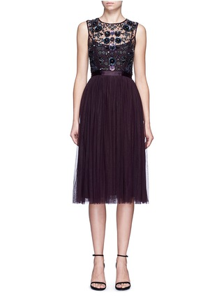 Main View - Click To Enlarge - Needle & Thread - Floral embellished tulle midi dress