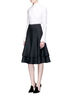 Co Layered wool-cotton-silk blend skirt