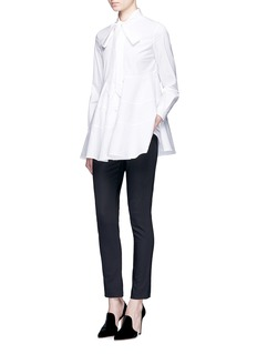 Co Neck tie tiered seam poplin shirt