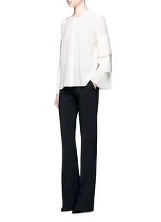 Co Tiered plissé pleated sleeve silk shirt