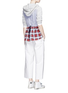 Clu TooStripe and check back drawstring cotton hoodie