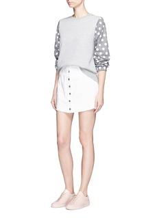 Clu TooFlocked polka dot houndstooth sleeve sweatshirt