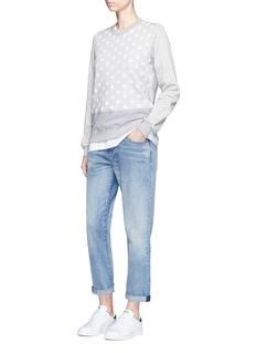 Clu TooStripe panel flocked polka dot sweatshirt