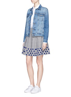 Clu Too Flocked dot pleated houndstooth skirt