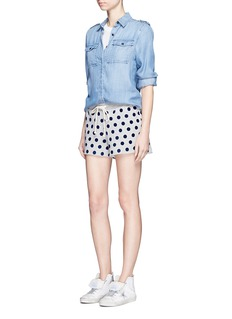 Clu Too Flocked polka dot fleece shorts