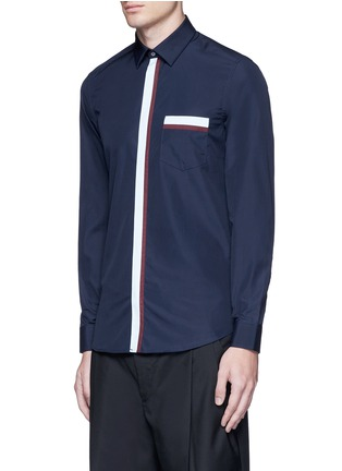 Front View - Click To Enlarge - KENZO - Contrast placket trim cotton shirt