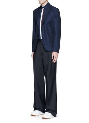 Figure View - Click To Enlarge - KENZO - Contrast placket trim cotton shirt