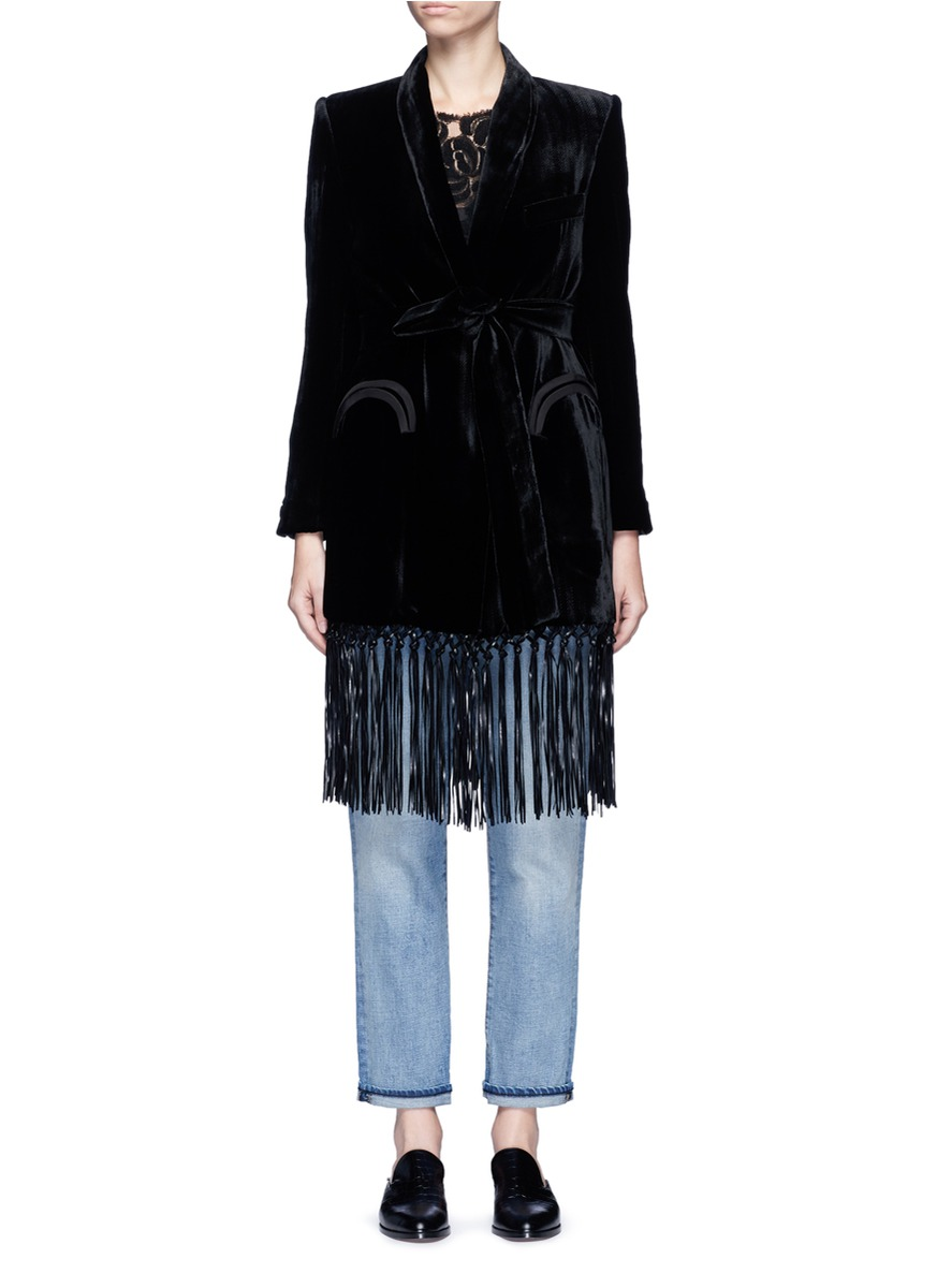 Etoile fringe hem velvet coat by Blazé Milano
