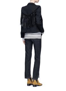 Blazé Milano'Woodland' faux leather fringe felted wool blazer