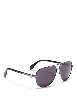 Figure View - Click To Enlarge - Alexander McQueen - Skull wire rim aviator sunglasses