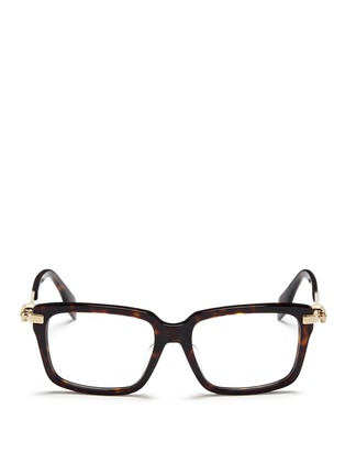 Main View - Click To Enlarge - Alexander McQueen - Skull stud tortoiseshell acetate optical glasses