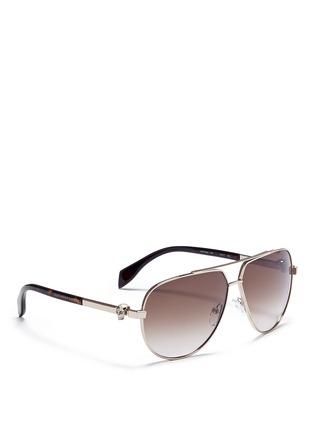 Alexander McQueen-Skull wire rim aviator sunglasses