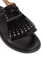 Stud kiltie fringe calfskin leather sandals
