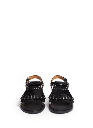 Front View - Click To Enlarge - Church ' S - Stud kiltie fringe calfskin leather sandals
