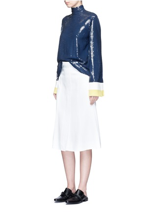 Figure View - Click To Enlarge - Emilio Pucci - Stripe cady cuff sequin crepe top