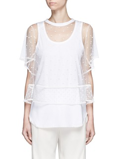 CHLOÉ Embroidered dot tulle top and jersey tank