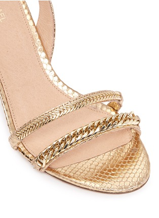 Detail View - Click To Enlarge - Michael Kors - 'Jackie' chain strap metallic leather slingback sandals
