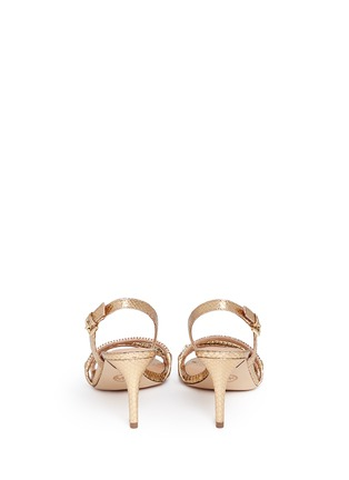 Back View - Click To Enlarge - Michael Kors - 'Jackie' chain strap metallic leather slingback sandals